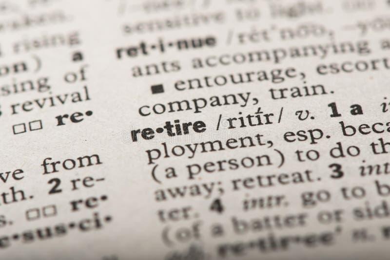 退休在字典 免版税图库摄影