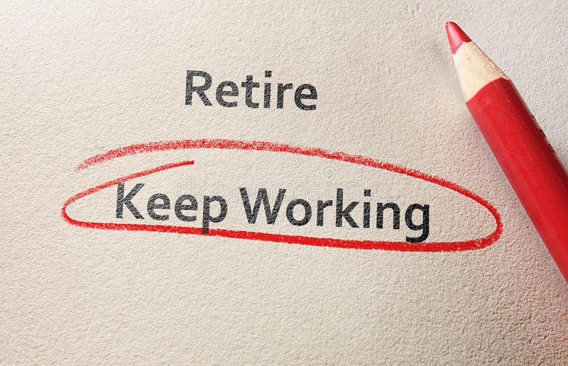 退休或继续工作 免版税库存照片