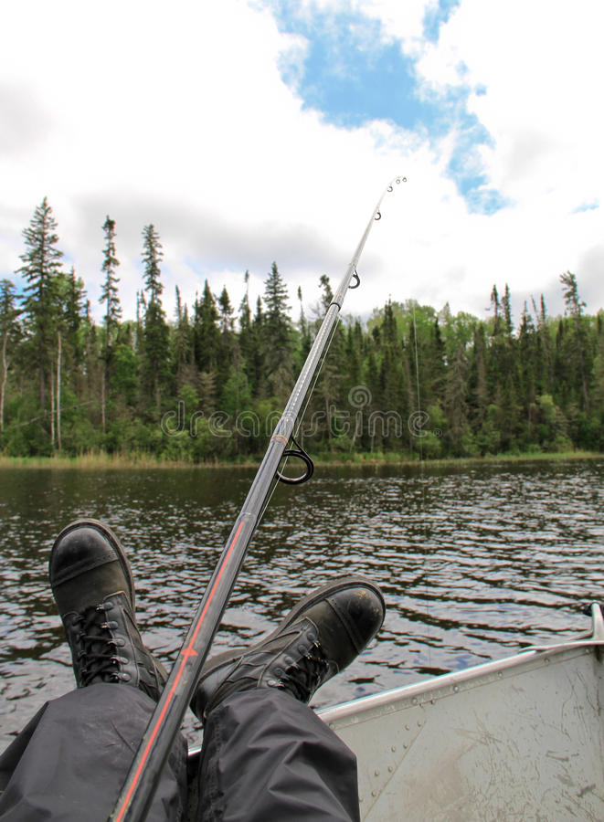 退休的军队渔夫脚视图 免版税库存照片