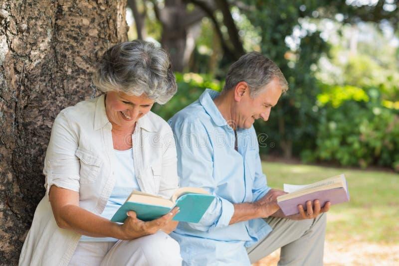 退休的夫妇阅读书一起坐树干 免版税库存图片