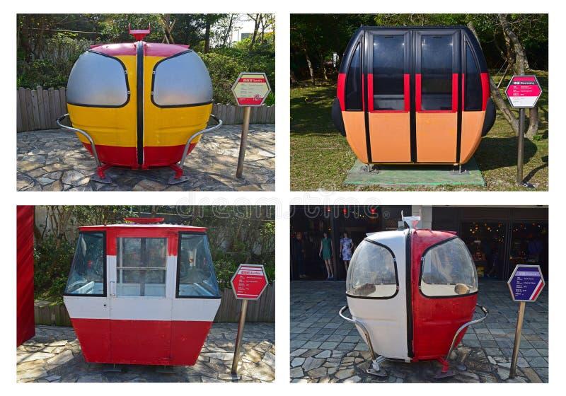 退休的客舱缆车各种各样的设计从不同的吸引力的在欧洲附近 免版税库存照片