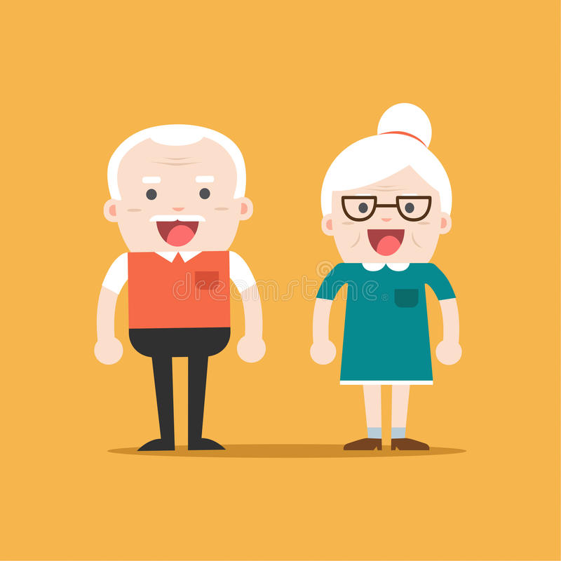 退休的年长资深年龄夫妇 库存例证