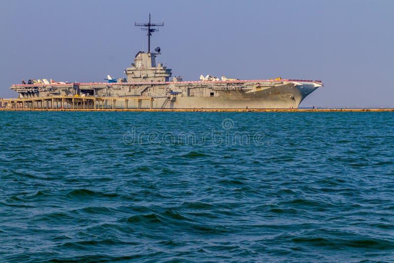 退休的WWII航空母舰USS列克星敦 免版税库存图片