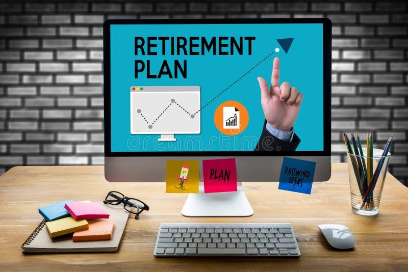 退休计划储款资深投资退休计划笔 库存例证