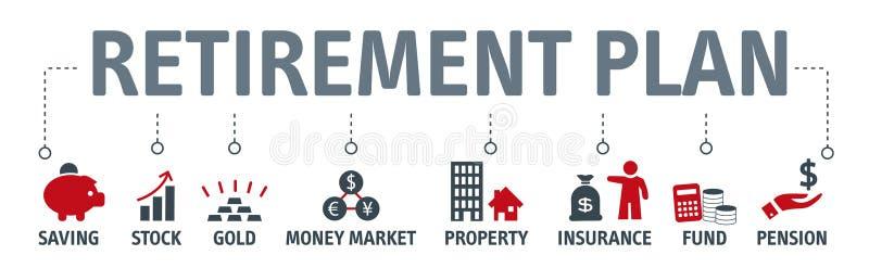 退休计划,事务,财务,概念性的银行业务 皇族释放例证