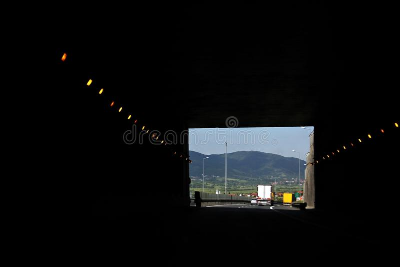 退出高速公路隧道 免版税图库摄影