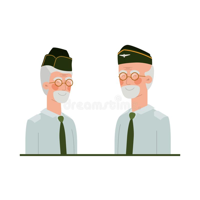 退役军人具体化字符 向量例证