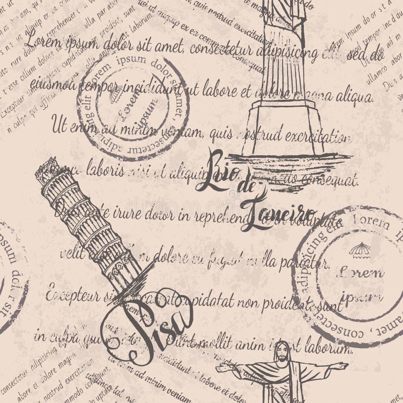 退色的文本,邮票,基督救世主,在里约热内卢上写字,比萨斜塔,在比萨上写字,无缝的样式 库存例证