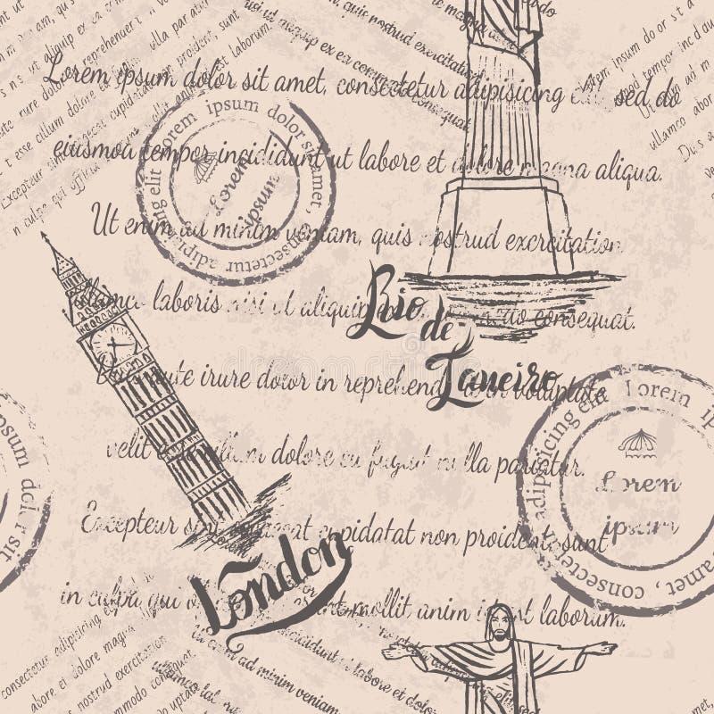 退色的文本,邮票,基督救世主,大笨钟,在伦敦上写字,无缝的样式 库存例证