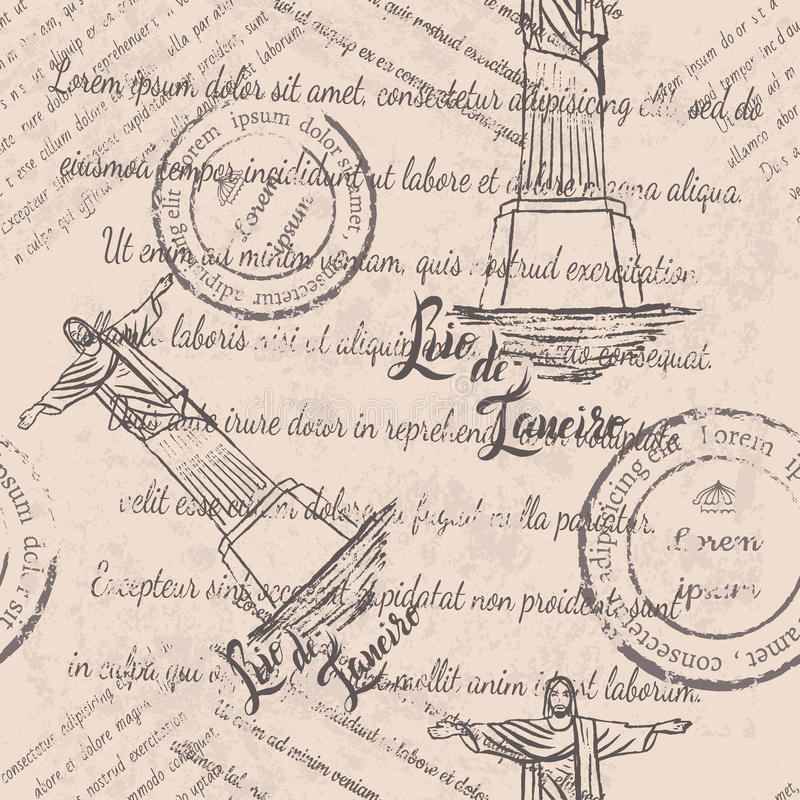 退色的文本,邮票,基督救世主,在里约热内卢上写字,无缝的样式 皇族释放例证