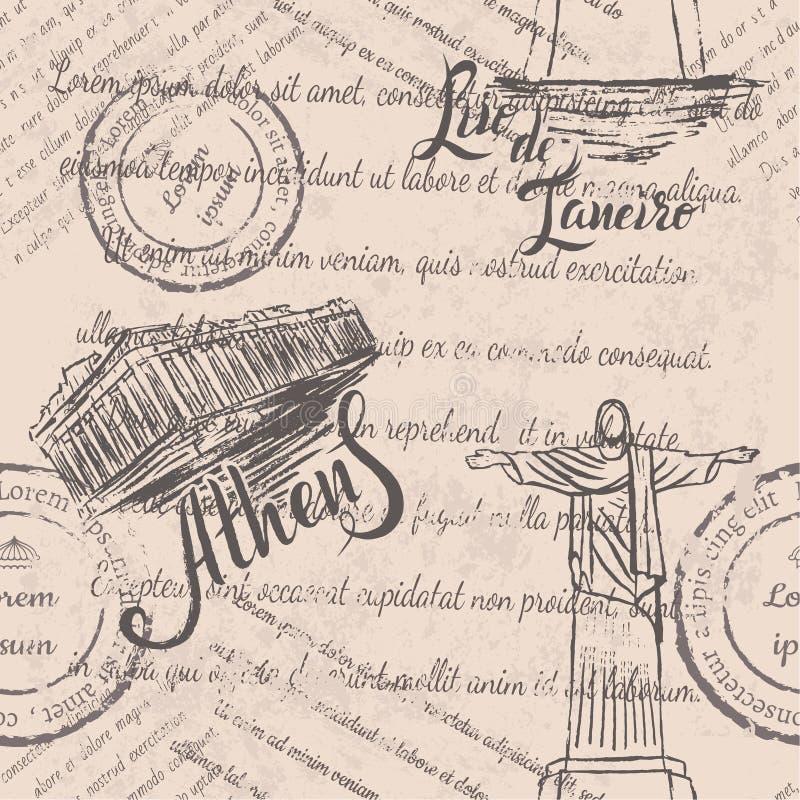 退色的文本,邮票,手拉的基督救世主,在里约热内卢上写字,手拉的雅典卫城,在雅典上写字 向量例证