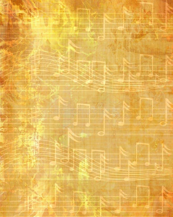 退色的音乐纸张 库存例证