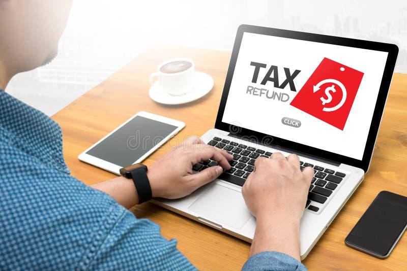 退还税金和退款退还税金罚款义务征税 库存照片
