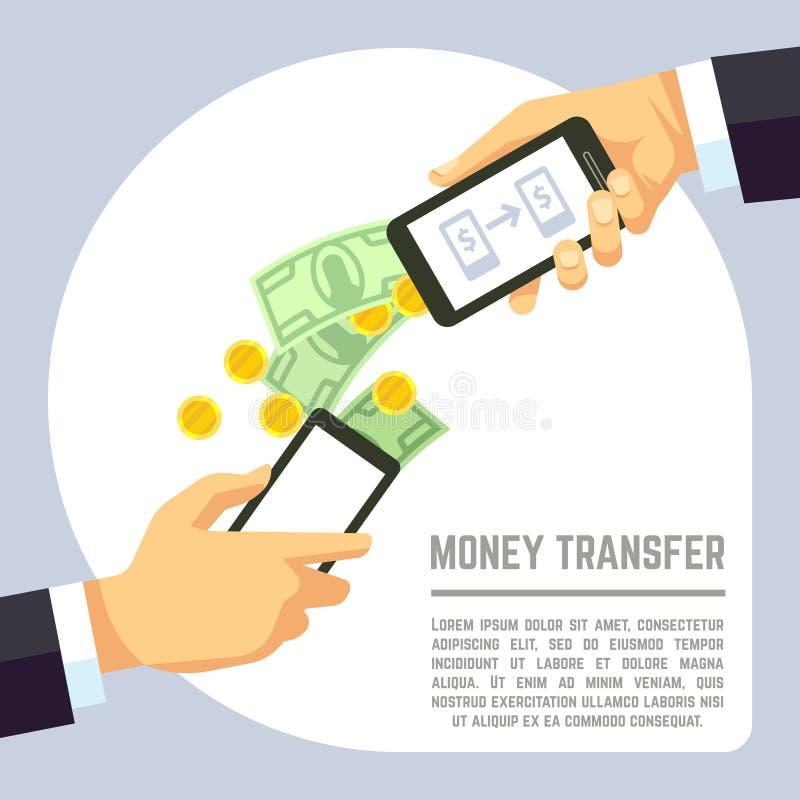 送和接受有开户付款apps的手机的金钱无线导航概念 皇族释放例证