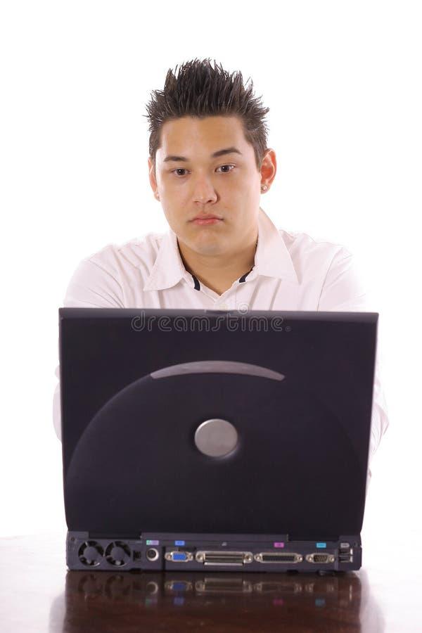 送电子邮件的亚裔人 库存图片