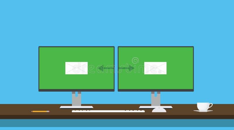 送电子邮件送两个人计算机计算机信封调动 向量例证