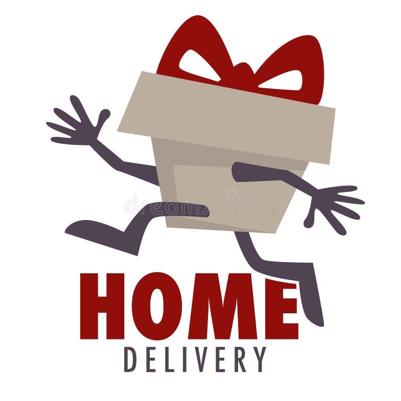 送货上门被隔绝的象小包和食物运输 向量例证