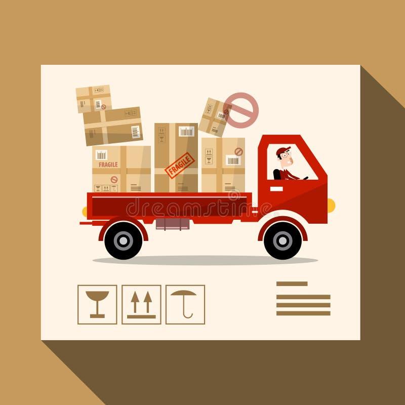 送货业务概念 传染媒介卡车设计 皇族释放例证