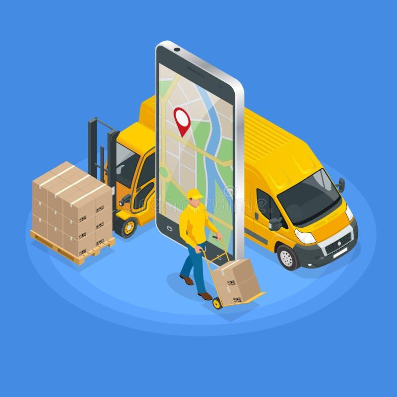 送货业务app的等量概念在手机的 送货车和手机有地图的在城市背景 皇族释放例证