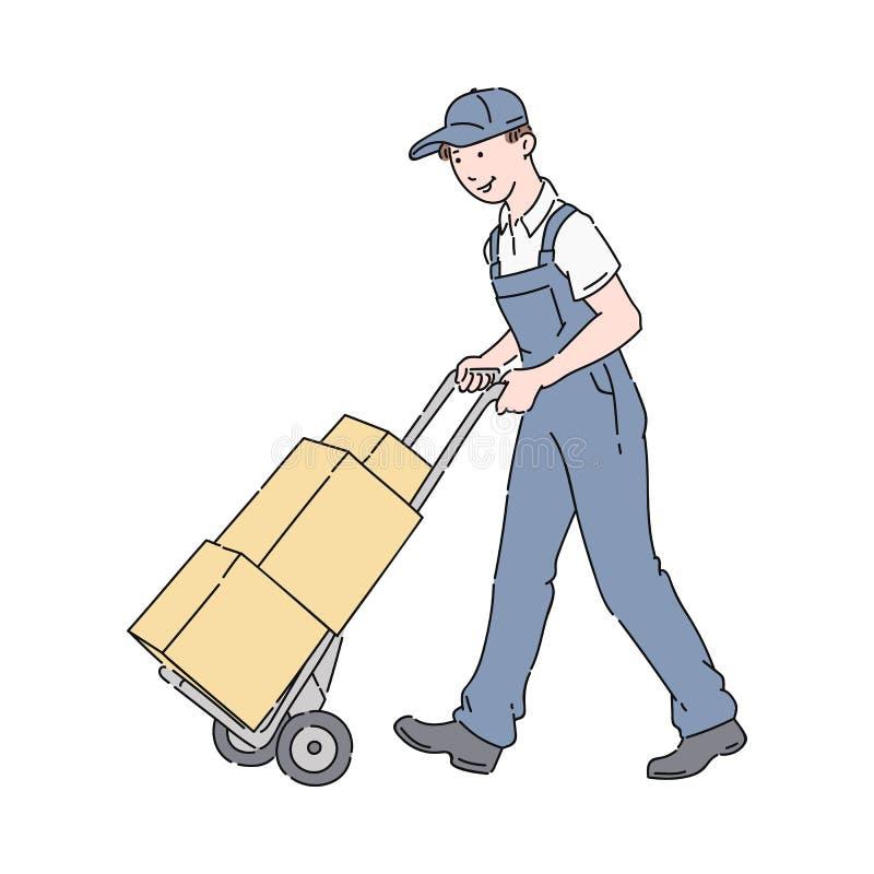 送货人或传讯者在推挤一个手推车有堆的制服箱子 皇族释放例证