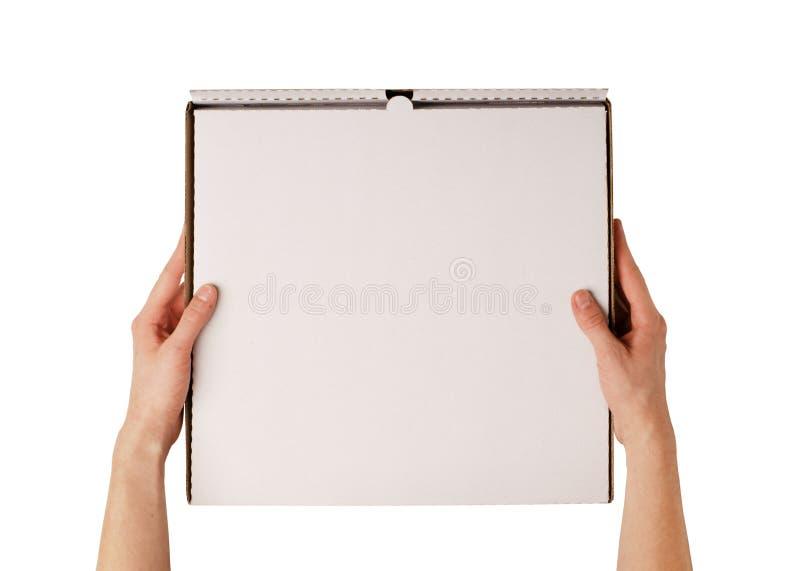 送货人藏品空白比萨箱子大模型 免版税库存图片