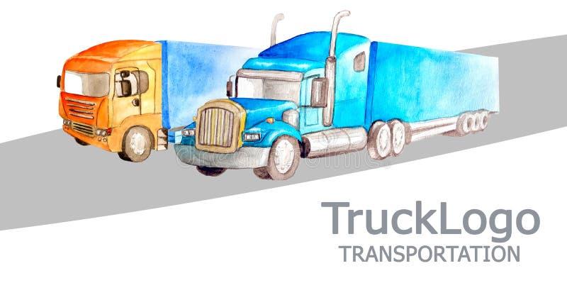 送货公司的名片有在样式,在白色背景的颜色的两辆不同卡车的 库存例证