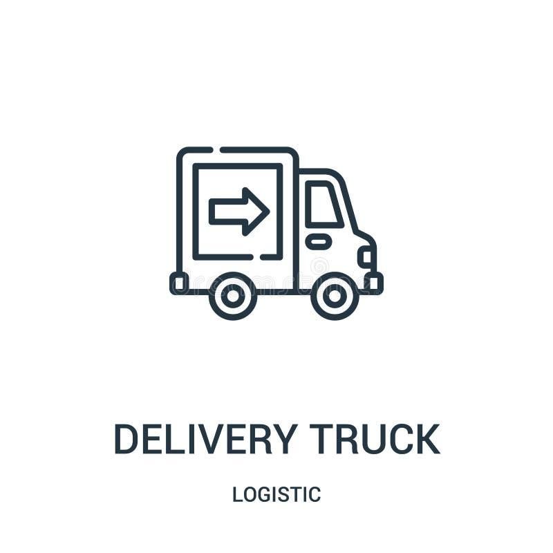 送货卡车从后勤收藏的象传染媒介 稀薄的线送货卡车概述象传染媒介例证 库存例证