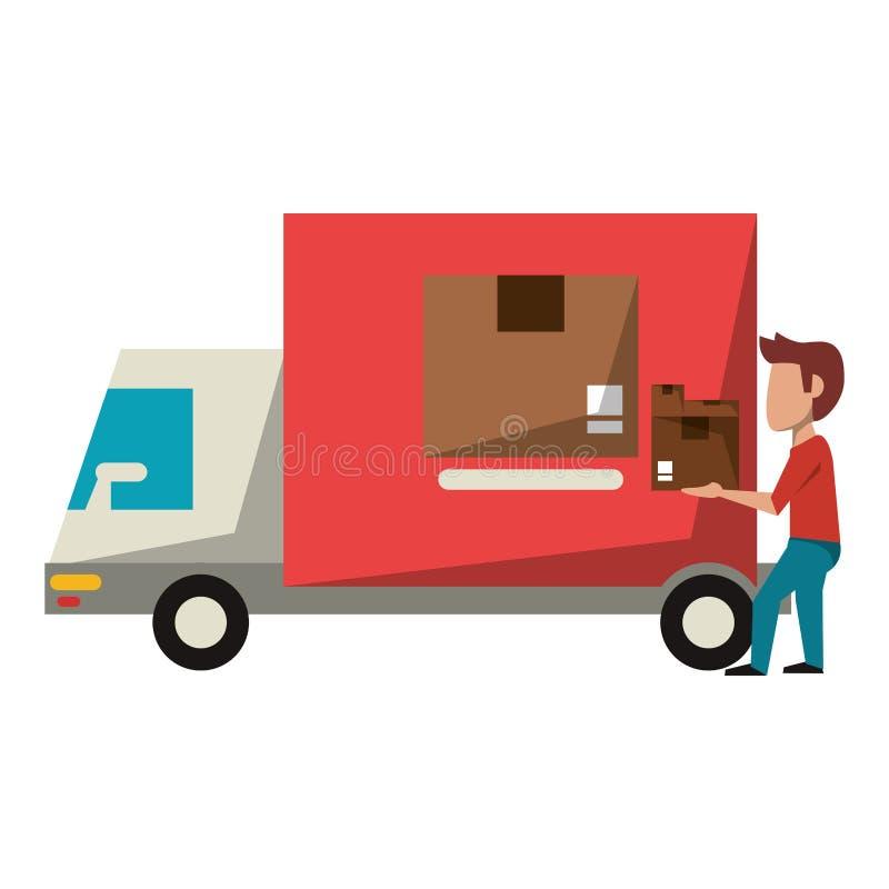 送货卡车和传讯者与箱子 向量例证