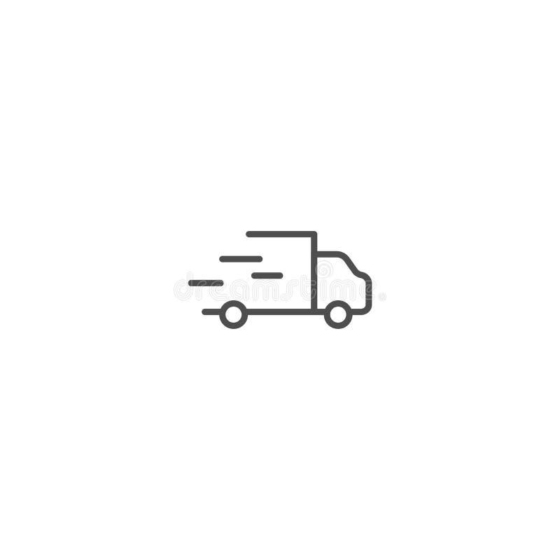 送货卡车概述剪影 传染媒介线在白色背景隔绝的运输的象 库存例证