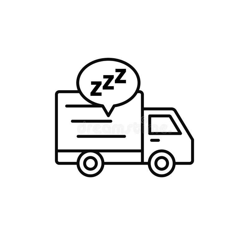 送货卡车睡眠象 发货传讯者采取断裂例证 简单的概述传染媒介标志设计 向量例证