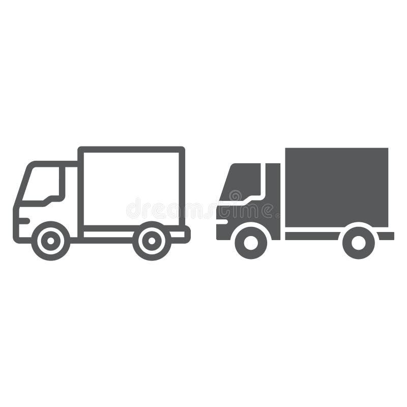 送货卡车线和纵的沟纹象、交通和车,van sign,向量图形,在白色的一个线性样式 向量例证