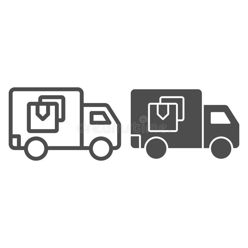 送货卡车线和纵的沟纹象 在白色隔绝的范vector例证 运输概述样式设计,被设计 向量例证
