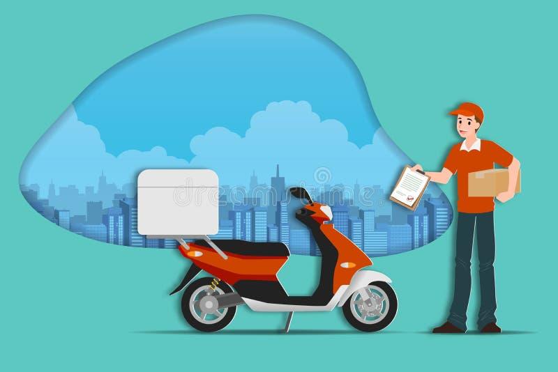 送货服务人藏品有准备好的摩托车的小包箱子到处和非常快速地运输到接收器明确 向量例证