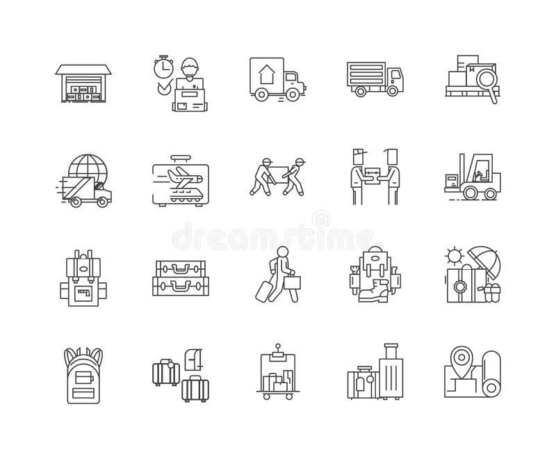 送货服务用户线路象,标志,传染媒介集合,概述例证概念 库存例证