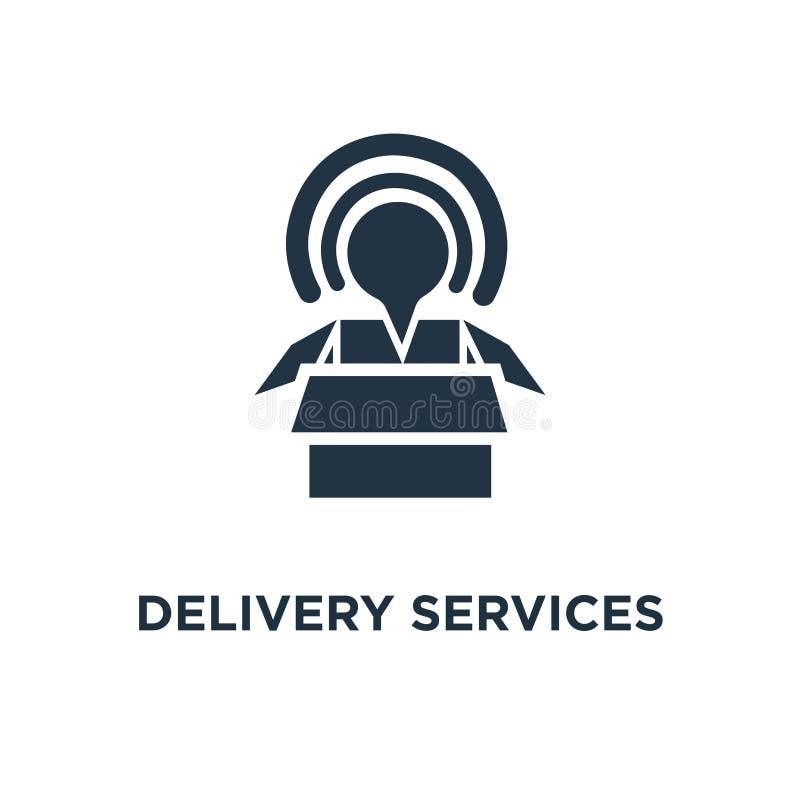 送货服务象 被打开的箱子概念标志设计、后勤学和运输,拆迁,货物发货,发行 皇族释放例证