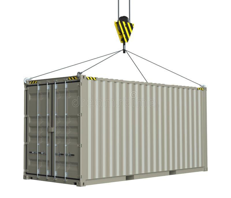 送货服务-勾子卷扬的货箱 皇族释放例证