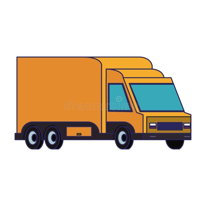 送货车运输的车隔绝了蓝线 库存例证