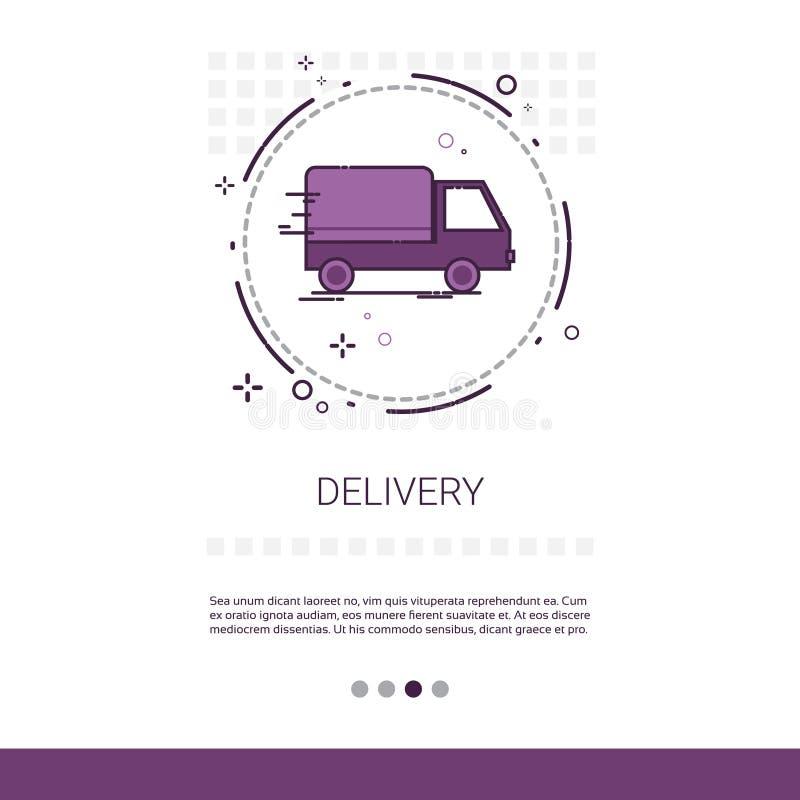 送货业务卡车与拷贝空间的网横幅 皇族释放例证