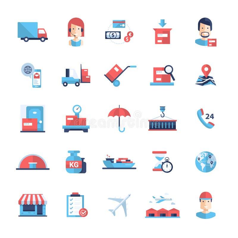 送货业务现代平的设计象和图表 向量例证