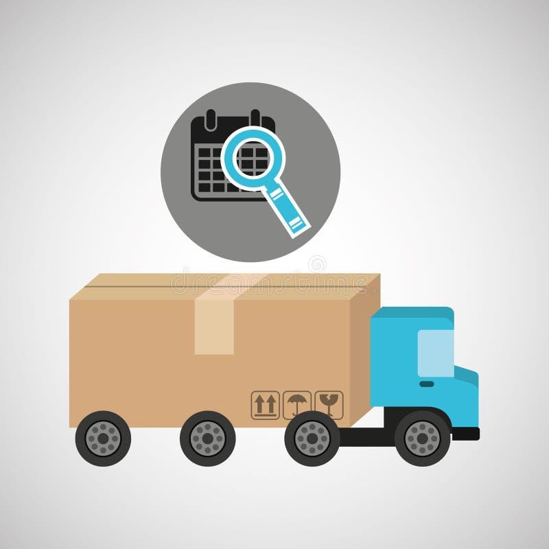 送货卡车概念日历查寻象 向量例证