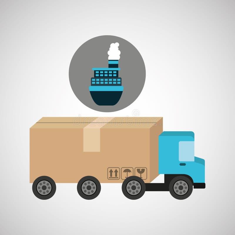 送货卡车概念货物海洋运输 向量例证