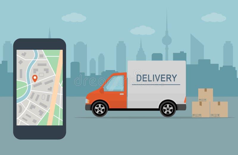 送货车和手机有地图的在城市背景 向量例证