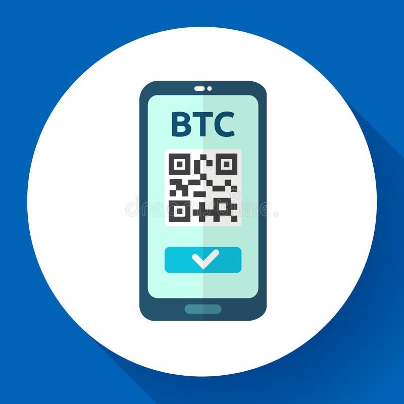 送bitcoin象、电话有qr代码的在屏幕上,cryptocurrency交易、交换和调动技术,传染媒介 库存例证
