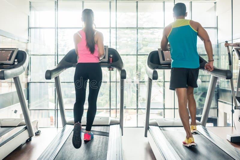 适合妇女的背面图和她的心脏锻炼成为赛跑的伙伴 免版税图库摄影