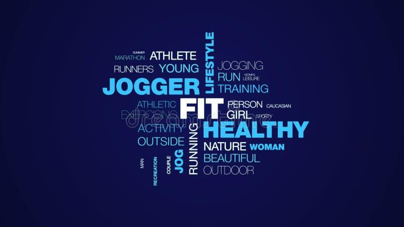 适合的健康慢跑者生活方式锻炼活跃健康健身体育凹凸部锻炼给词在uhd 4k的云彩背景赋予生命 向量例证