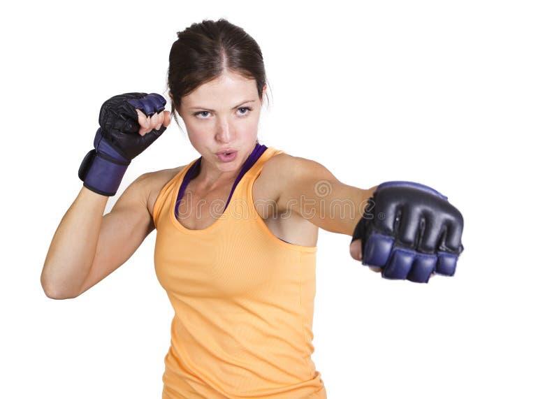 适合的妇女拳击和训练 库存图片