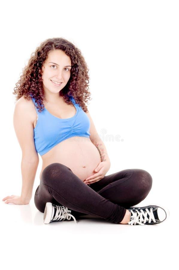 适合的孕妇 库存照片
