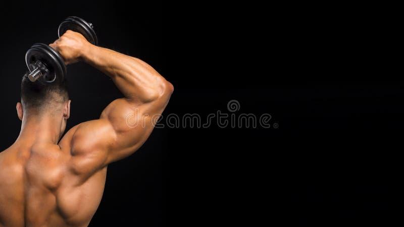 适合的肌肉人使用他的哑铃工作他的在黑暗的背景的三头肌 免版税库存图片