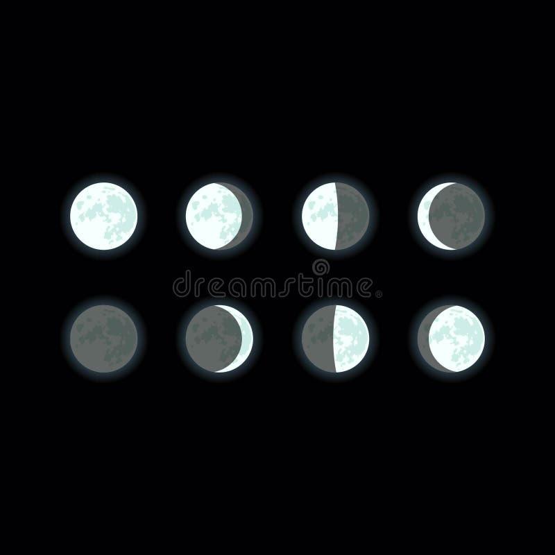适应图标 月球阶段 满月,新月,蚀,减少的月亮,给月亮打蜡 免版税图库摄影