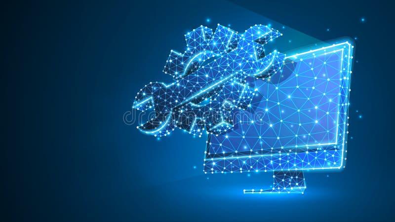 适应在计算机显示器的可调扳手 产业,企业技术,设置概念 r 皇族释放例证